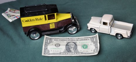 2 Chevy die cast trucks L, 1928 bank with key. Right, 1955 PU