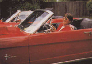 "Mary in her Mustang that was in the movie ""Me, Myself and Irene""."