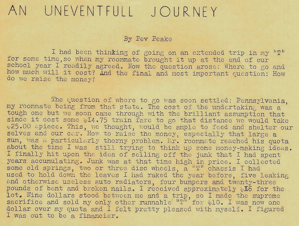 an uneventful journey - peveril field peake