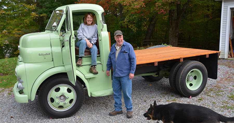 "Richard & Roxie Kerr and their 1951 ""Cab Over"" Dodge"
