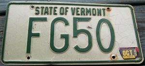 fg series vt license plate