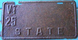 1925 vt license plate