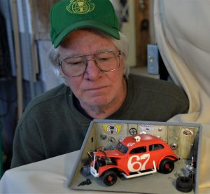Hal Boardman and diorama of Ken Gypsom's '37 Ford Flatback racecar