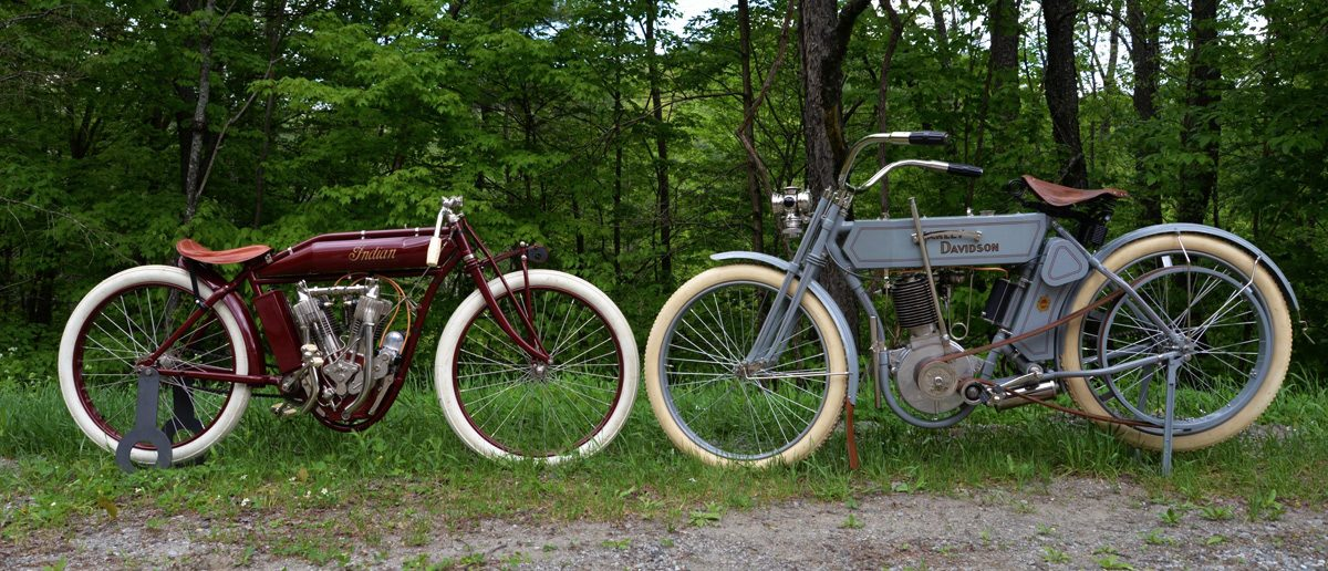 1913 Board-track racing Indian and 1910 Harley Davidson Model-F motorcycles