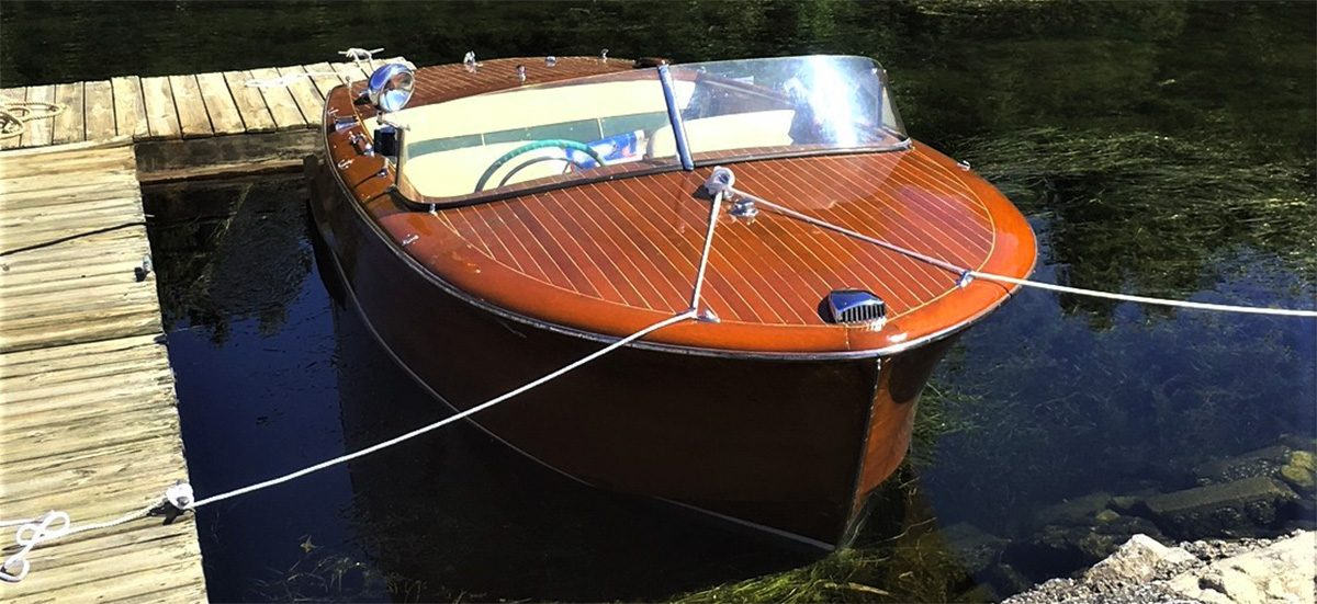 1955 shepard runabout docked